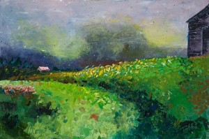 Painting of a grassy field